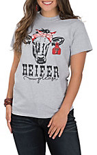 Girlie Girl Women's Grey Heifer Please Texas Tech Cow Bandanna Short Sleeve T-Shirt