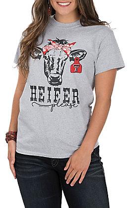 Girlie Girl Women's Grey Heifer Please Texas Tech Cow Bandanna Short Sleeve T-Shirt