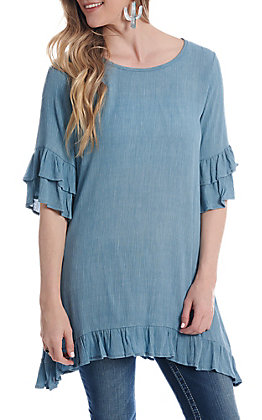 Lovely Souls Women's Turquoise Bell Sleeve Fashion Tunic