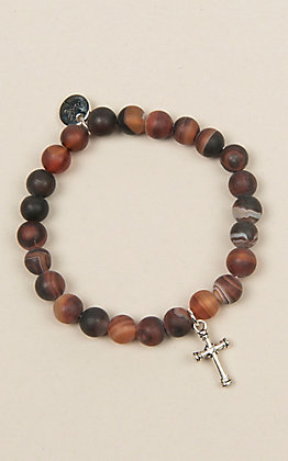 Laminin Tumbleweed Striped Dream Agate Beaded Bracelet
