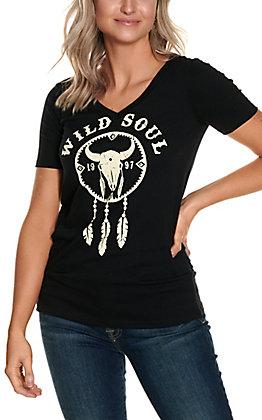 R. Rouge Women's Black with Cream Wild Soul Skull Dreamcatcher V-Neck Short Sleeve Tee
