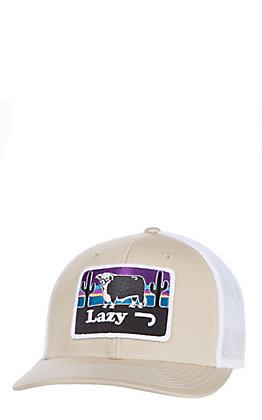 Lazy J Ranchwear Tan and White Elevation Patch Snap Back Cap