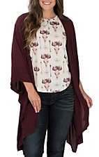 Wishlist Apparel Women's Burgundy Solid Kimono
