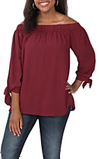 Wishlist Women's Burgundy Off the Shoulder 3/4 Sleeves with Tie Fashion Top