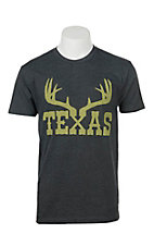 Tumbleweed Texstyles Men's Charcoal Texas Antlers Screen Print Short Sleeve T-Shirt