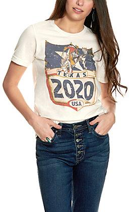 XOXO Art & Co. Vintage White Cowboy Graphic Short Sleeve T-Shirt