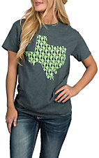 Girlie Girl Originals Women's Dark Heather Grey Texas Cactus S/S T-Shirt