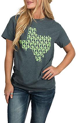 Girlie Girl Originals Women's Dark Heather Grey Texas Cactus S/S T-Shirt