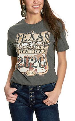XOXO Art & Co Heather Grey Texas Cowtown Short Sleeve T-Shirt