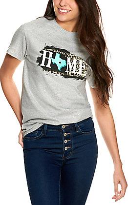 Girlie Girl Originals Women's Heather Grey Leopard Texas Home Short Sleeve T-Shirt