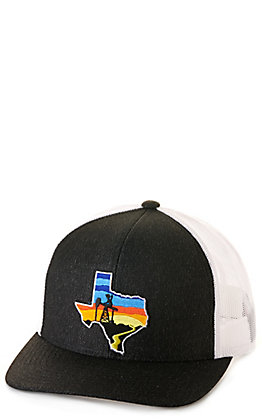 Oilfield Hats Heather Black and White PJ Cowboy Sunset Texas Patch Trucker Cap