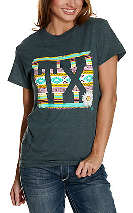 Girlie Girl Originals Women's Heather Grey with Aztec TX Design Short Sleeve T-Shirt