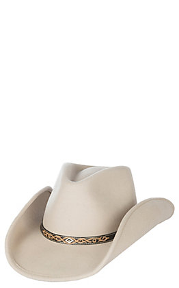 Scala by Dorfman Pacific Bone Crushable Tycoon Wool Cowboy Fashion Hat - Large / XL