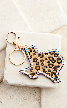 Amber's Allie Leopard Texas with Crystal Trim Keychain