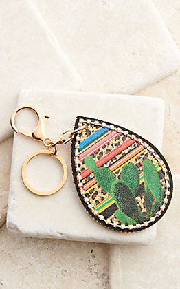 Amber's Allie Serape Leopard Cactus Teardrop with Crystal Trim Keychain