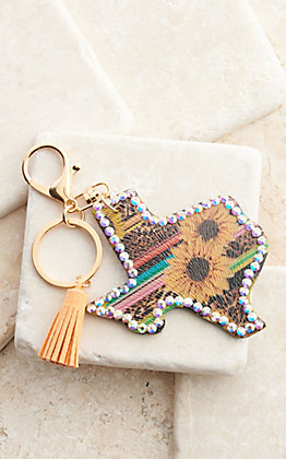 Amber's Allie Serape Leopard Sunflowers Texas with Crystal Trim Keychain