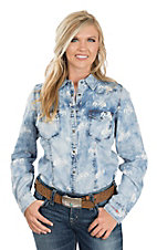 Ryan Michael Women's Light Blue Bucking Horse Western Shirt
