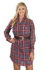 Ryan Michael Women's Red & Blue Double Face Plaid Western Shirt Dress
