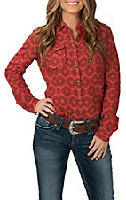 Ryan Michael Women's Rust Aztec Western Shirt