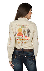 Ryan Michael Women's Sand Washed Embroidered Long Sleeve Western Shirt