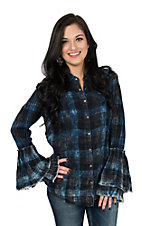 Ryan Michael Women's Indigo Plaid Tiered Sleeve Western Shirt