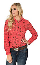 Ryan Michael Women's Red Tuscon Motif Print Long Sleeve Western Shirt