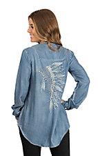 Ryan Michael Women's Blue Headdress Embroidered Tunic Fashion Shirt