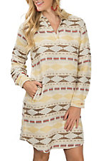 Ryan Michael Women's Ivory Blanket Jacquard Long Sleeve Western Dress