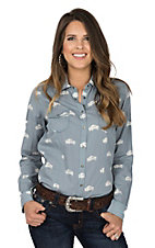 Ryan Michael Women's Light Blue Buffalo Print L/S Western Shirt