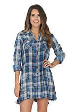 Ryan Michael Women's Indigo Plaid Tunic Western Shirt Dress