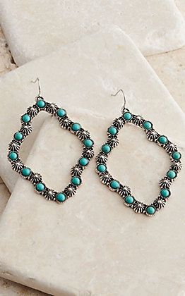 Amber's Allie Silver Open Diamond with Turquoise Dangle Earrings