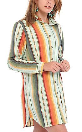 Lucky & Blessed Women's Mint Serape Print Button Down Dress