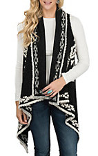 Ryan Michael Women's Black and White Headdress Handkerchief Shawl Vest