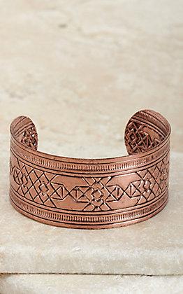 Amber's Allie Copper Aztec Textured Cuff Bracelet