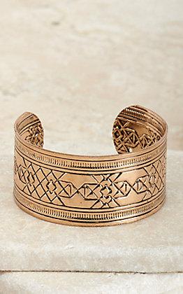 Amber's Allie Gold Aztec Textured Cuff Bracelet