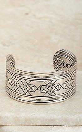 Amber's Allie Silver Aztec Textured Cuff Bracelet