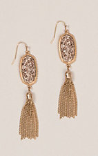 Amber's Allie Rose Gold Stone Tassel Earrings