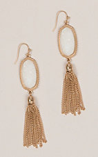 Amber's Allie White Stone Tassel Earrings