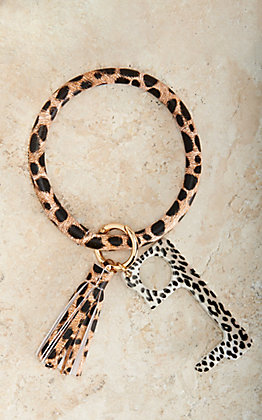 Cheetah Print Touchless Button Push Bangle Keychain