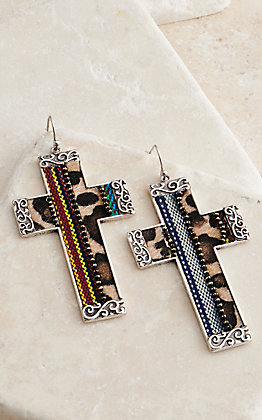 Amber's Allie Silver with Serape Animal Print Cross Earrings