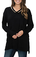 Umgee Women's Black Criss Cross Sweater