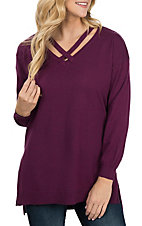 Umgee Women's Wine Criss Cross Sweater