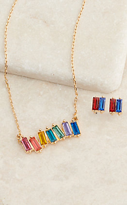 Amber's Allie Gold with Rainbow Colored Crystals Pendant Necklace and Earrings Jewelry Set