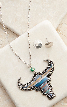 Amber's Allie Silver with Blue Serape Longhorn Necklace & Earrings Set