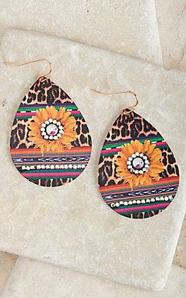 Amber's Allie Gold with Bling Sunflower Leopard Print Teardrop Earrings
