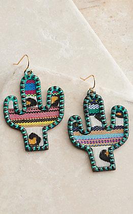 Amber's Allie Patina with Animal Serape Cactus Dangle Earrings