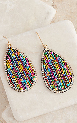 Amber's Allie Gold with Multi Colored Beads Teardrop Earrings