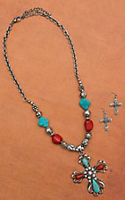 Turquoise, Red, and Bling Silver Cross Set