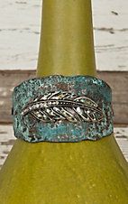 Turquoise Patina with Rhinestone Feather Cuff Bracelet UI821