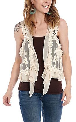 UMGEE Women's Natural Lace & Crochet Vest